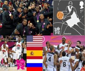 Układanka Podium koszykówki mężczyzn Londyn 2012