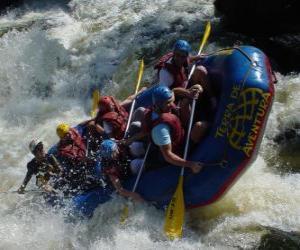 Układanka Podróżnicy w dół rzeki z pontonów