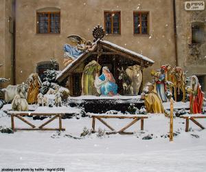 Układanka Pokryte śniegiem manger