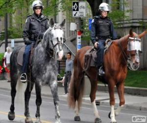 Układanka Policjanci na koniach