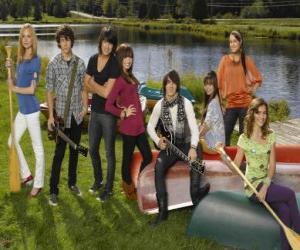 Układanka Postacie w Camp Rock Tess, Nate, Shane, Mitchie, Jason, Ella, Peggy i Caitlyn