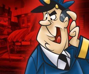 Układanka Posterunkowy Dybek, policjant, który wygląda po alley Cat góry i jego gang
