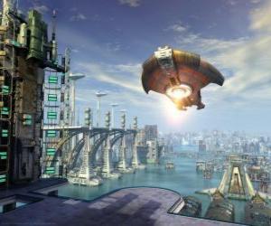 Układanka Pozaziemskiego statku kosmicznego UFO lub pływające