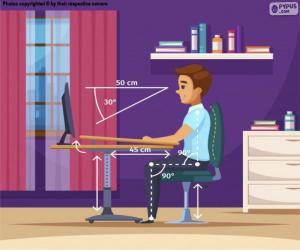 Układanka Prawidłowa pozycja przed komputerem