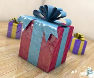 Układanka Prezenty świąteczne ozdobiony wstążkami
