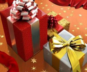 Układanka prezenty wstążki, kokardy