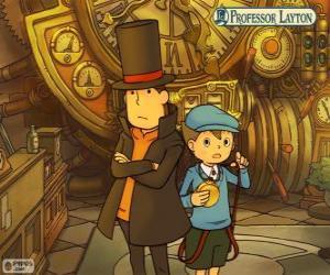 Układanka Profesor Layton i jego asystent Łukasz Triton, głównych bohaterów tajemnicy i puzzle gry dla Nintendo