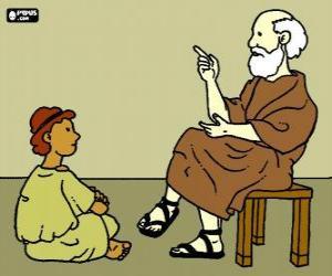 Układanka Profesor lub nauczyciel, siedząc na stołku, uczyć chłopca, siedzącego na podłodze