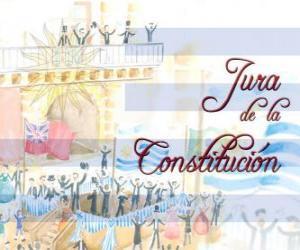 Układanka Przeklinanie Konstytucji Urugwaju. Każdy 18 lipca obchodzony jest przysięga pierwszego konstytucji narodowej w 1830 r.