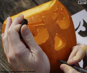 Układanka Przygotowywanie Dynia Halloween