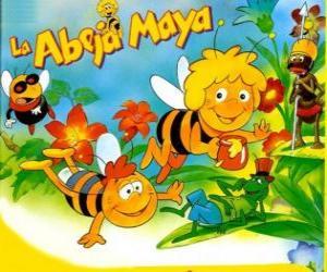 Układanka Pszczółka Maja i jej przyjaciel Willi pod spojrzeniem Flip i inne znaki