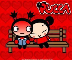 Układanka Pucca i Garu siedząc na ławce w parku