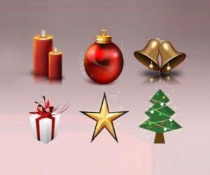 Układanka Różne ozdoby świąteczne