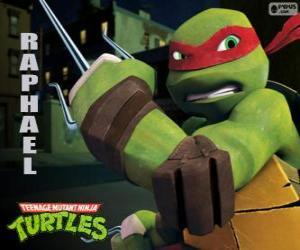 Układanka Rafał, bardziej agresywny żółw ninja z jego bronią w ręku, parę Sai, trzystopniowa sztylet