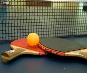 Układanka Rakietki tenis stołowy i piłka