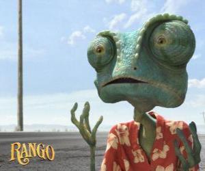 Układanka Rango domowych jest kameleon, który mieszka w terrarium, który kończy się na pustyni