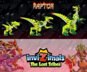 Układanka Raptor, najnowszej ewolucji. Invizimals Zaginione Plemiona. Niebezpieczne hunter, który jest szybki, inteligentne, agresywne