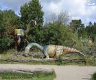 Grupa trzech dinozaurów w krajobraz