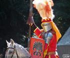 Średniowieczny rycerz na koniu