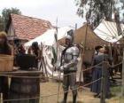 Wojownik chronione zbroję i hełm i uzbrojonych