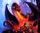 Dragon rzucanie ognia przez usta