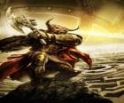 Minotaur - potwór gigant z ludzkiego ciała i głowy byka jako wojownik zbrojny