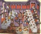 Scena średniowiecznego kolacja w salonie pałacu lub zamku