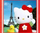 Hello Kitty z birdie i Wieżą Eiffla w tle
