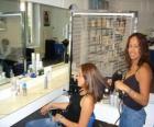 Fryzjer czesanie i suszenie włosów do klienta w salonie kosmetycznym lub salon fryzjerski