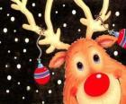 Szef Rudolf, czerwony nos renifera, zdobione dekoracje świąteczne