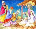 Trzej Królowie dary: złoto, kadzidło i mirrę, do Dzieciątka Jezus