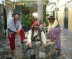 Trzech piratów, kapitan i jego pomocników