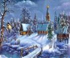 Kościół w Boże Narodzenie z fir pod gwiazdami