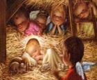 Dzieciątka Jezus w żłobie z ochroną anioł