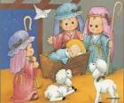 Jezus w żłobie, z Józefem, Maryją i pasterza z owcami