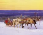 Boże Narodzenie sanie ciągnione przez renifery i załadowane darami i Santa Claus