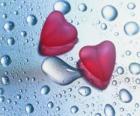Dwa czerwone serca i kropel deszczu