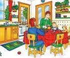 Caillou i jego rodziny jedzenie w kuchni
