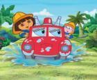 Dora the Explorer dziewczyna obok małp Boots, z silnikiem ognia