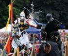 Dwóch rycerzy na koniach biorących udział w turnieju