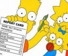 Bart Simpson z notatki ze szkoły przed czujnym okiem siostry