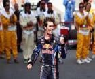 Mark Webber świętował swoje zwycięstwo na Circuit de Catalunya, Hiszpania Grand Prix (2010)