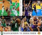 Finały NBA 2009-10, Rozgrywający, Rondon Rajon (Celtics) vs Derek Fisher (Lakers)