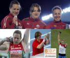 Ostapchuk Nadieżda pchnięcia kulą mistrz, i Anna Natalia Michniewicz Avdeev (2 i 3) z Barcelona Mistrzostwa Europy w Lekkoatletyce 2010