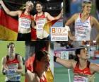 Linda Stahl mistrz w rzucie oszczepem, Barbora Špotáková i Christina Obergföll (2 i 3) z Barcelona Mistrzostwa Europy w Lekkoatletyce 2010