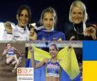Olha Saladuha potrójny mistrz skoku Simona La Mantia, Svetlana Bolshakov (2 i 3) z Barcelona Mistrzostwa Europy w Lekkoatletyce 2010