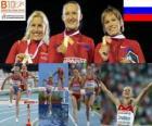 Julia Zarudneva 3000 m z przeszkodami mistrz Marta Dominguez i Liubov Jarlamova (2 i 3) z Barcelona Mistrzostwa Europy w Lekkoatletyce 2010