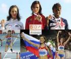 Natalia Antiuj mistrz 400m przez płotki, Vania Stambolova i Shakes-Drayton Perri (2 i 3) z Barcelona Mistrzostwa Europy w Lekkoatletyce 2010
