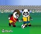 Panfu pandy gry w piłkę nożną