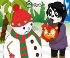 Snowman bez nosa pomponami jak chce jeść w Penny niespodzianka